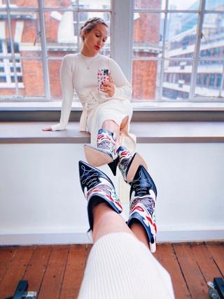 Sophia wearing her Shelby Cone Heel Boot by Sophia Webster